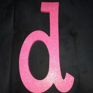 """Other - LARGE PINK GLITTER LOWERCASE LETTER """"d"""" WALL DECOR"""